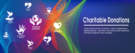 Charitable Giving and Donations Header Banner and Icon set Illustration