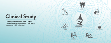 Clinical Study - Web Header Banner and Icon Set Illustration