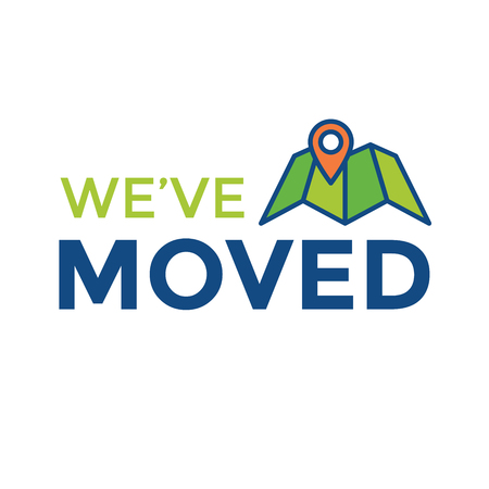 We've Moved Sign with Text Typography and icon to convey moving