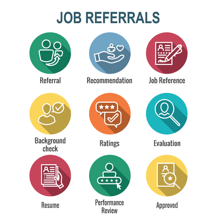 Referral Job Reference Icon Set with recommendations, & performance review, etc