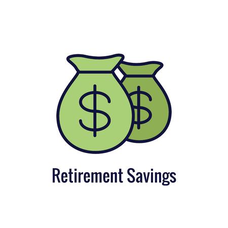Retirement Account & Savings Icon Set - Mutual Fund, Roth IRA, etc
