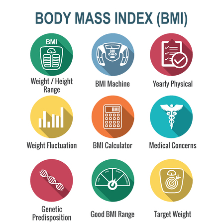 BMI / Body Mass Index Icons w scale, indicator, and calculator Vector Illustration