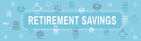 Retirement Account & Savings Icon Set Web Header Banner - Mutual Fund, Roth IRA, etc