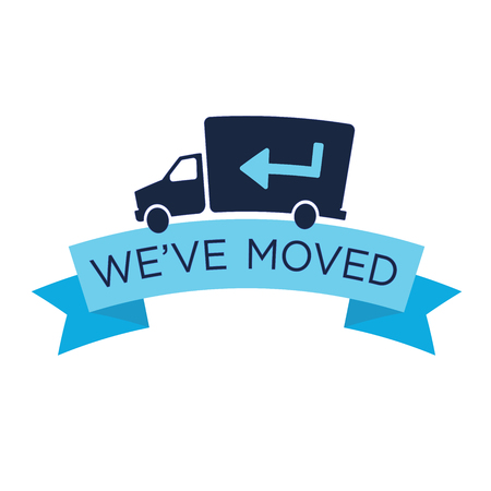 We've Moved Sign w Text Typography and icon to convey moving Stockfoto - 116549640
