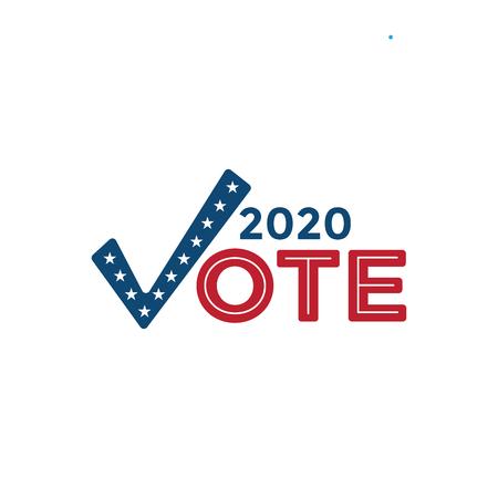Icône de vote 2020 w Vote, gouvernement et symbolisme et couleurs patriotiques