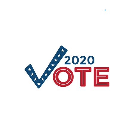 Voting 2020 Icon w Vote, Government, and Patriotic Symbolism and Colors Illustration