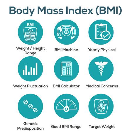 Icone BMI/indice di massa corporea con scala, indicatore e calcolatrice Vettoriali