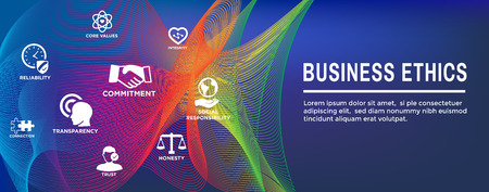 Business Ethics Web Banner and Icon Set w Honesty, Integrity, Commitment, and Decision