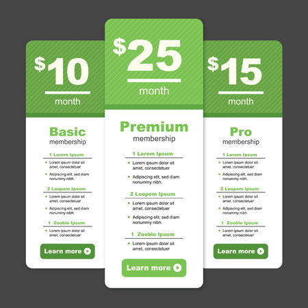 Premium Pricing & Membership Graphic with Different Options and Plans