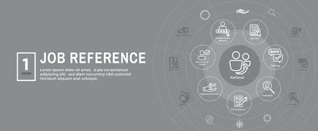 Referral Job Reference Banner intestazione Web e set di icone