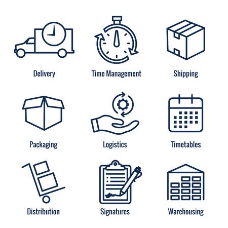 Shipping and Receiving Icon Set w Boxes, Warehouse, checklist, etc Ilustração