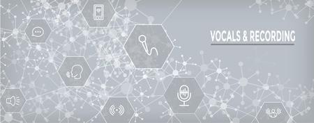 Icono de comando de grabación / voz con imágenes de ondas sonoras Banner de encabezado web Ilustración de vector