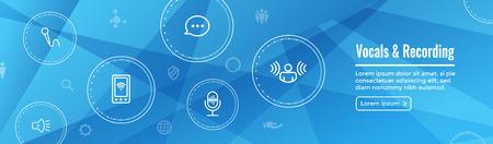 Vocal  Recording Command Icon with Sound Wave Images Web header banner Ilustração