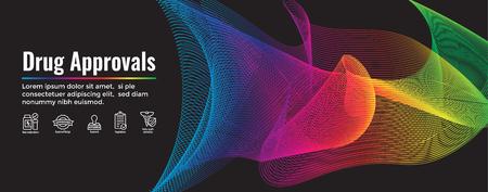 Drogentests - Web-Header-Banner mit Icon-Set verarbeiten Vektorgrafik
