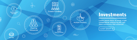 Retirement Investments  Dividend Income, Mutual Fund, IRA Icon set Web Header Banner Illustration