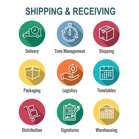 Shipping and Receiving Icon Set w Boxes, Warehouse, checklist, etc Illustration