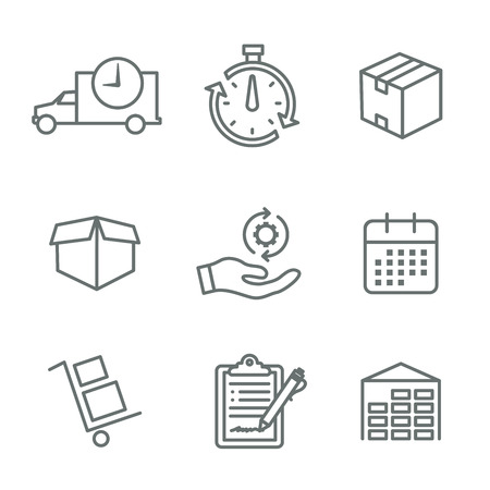 Shipping and Receiving Icon Set w Boxes, Warehouse, checklist, etc Vektorové ilustrace