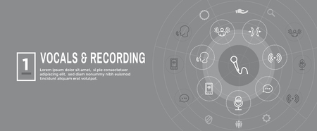 Vocal  Recording Command Icon with Sound Wave Images Web header banner Ilustrace