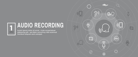 Audio Recording  Voice Command Icon with Sound Wave Images