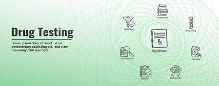 Drug Testing - Process Web Header Banner with Icon Set