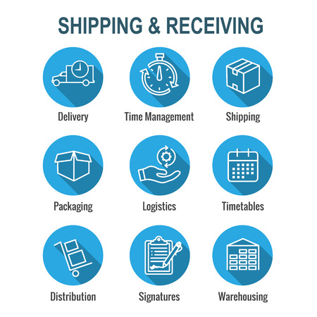 Shipping and Receiving Icon Set w Boxes, Warehouse, checklist, etc Vectores