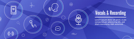 Vocal  Recording Command Icon with Sound Wave Images Web header banner  イラスト・ベクター素材