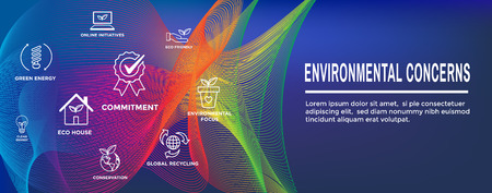 Environmental concerns icons web header banner - green energy, eco house, and earth initiatives Illustration