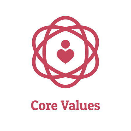 Aperçu des valeurs fondamentales - Icône de ligne véhiculant l'intégrité et le but