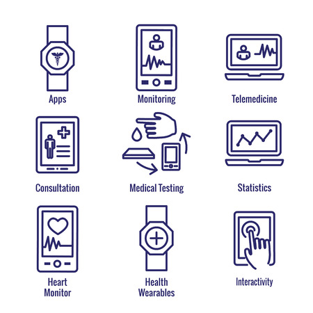 Digital Health Icon Set - Wearable Technology Web Header Banner