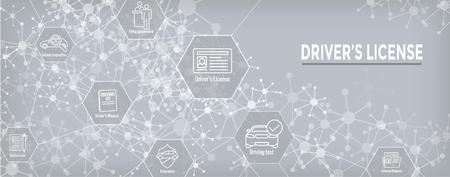 Treibertest- und Lizenzsymbolsatz und Web-Header-Banner Vektorgrafik