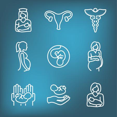 Médecine pédiatrique w Icône associée au bébé ou à la grossesse Vecteurs