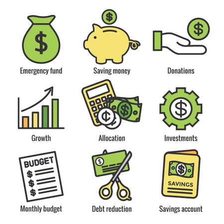 Conjunto de iconos de responsabilidad y finanzas personales con opciones de dinero, ahorro y banca