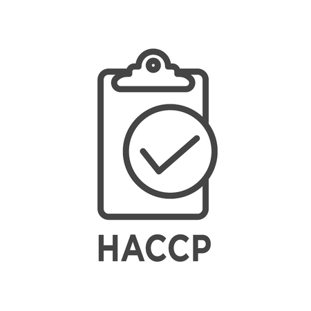 HACCP  -  Hazard Analysis Critical Control Points icon with award or checkmark 矢量图像