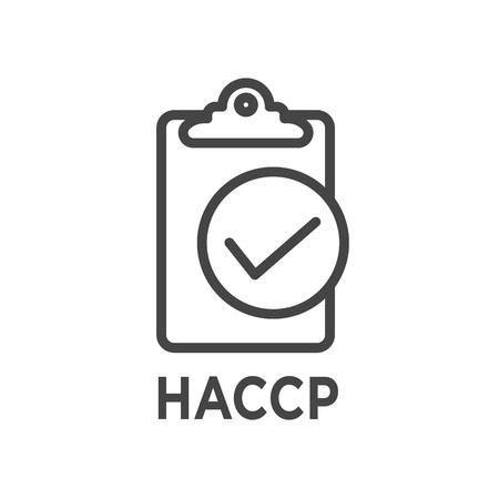HACCP: icono de puntos críticos de control del análisis de peligros con premio o marca de verificación