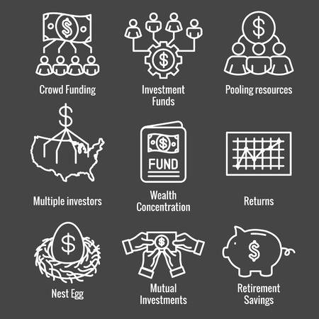 Investissements de retraite / revenu de dividendes, fonds communs de placement, jeu d'icônes IRA