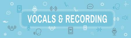 Vocal  Recording Command Icon with Sound Wave Images Web header banner Illusztráció