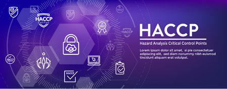 HACCP   Hazard Analysis Critical Control Points icon set and web header banner with award or checkmark
