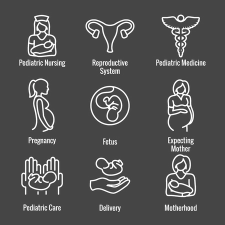 Pediatric Medicine w Baby or Pregnancy Related Icon Ilustrace