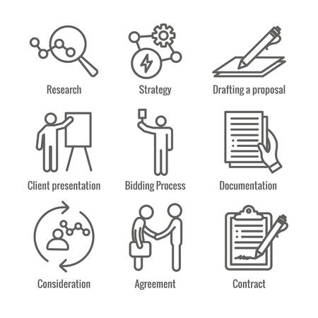 Nouveau jeu d'icônes de processus d'entreprise w Processus d'appel d'offres, proposition et contrat