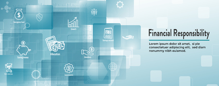 Symbolsatz für persönliche Finanzen und Verantwortung und Web-Header-Banner