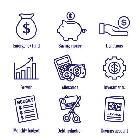 Ensemble d'icônes de finances personnelles et de responsabilité avec options d'argent, d'épargne et bancaires