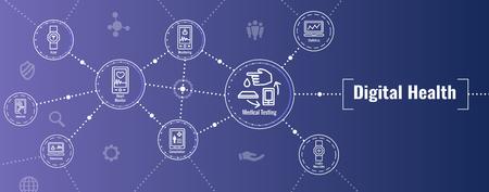 Conjunto de iconos de salud digital - Banner de encabezado web de tecnología usable