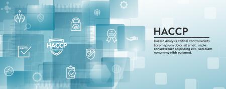 HACCP | Set di icone di punti critici di analisi dei rischi e banner di intestazione web con premio o segno di spunta