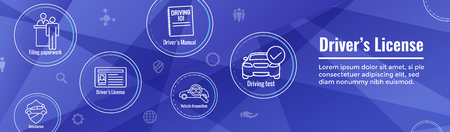 Drivers Test & License Icon Set and Web Header Banner Vector Illustratie