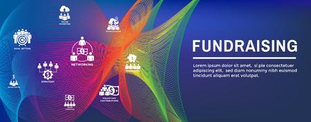 Fundraising Icon Set w Web Header Banner Vecteurs
