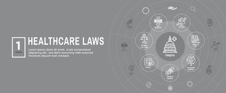 Health Laws and Legal icon set   various aspects of the legal system