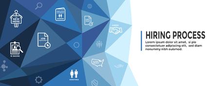 Nuevo conjunto de iconos de proceso de contratación de empleados y banner de encabezado web