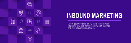 Digital Inbound Marketing Web Banner - Vector Icons with CTA, Growth, SEO, etc Stock Vector - 120660075