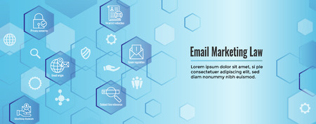 Email Marketing Rules & Regulations Icon Set and Web Header Banner Stock Illustratie