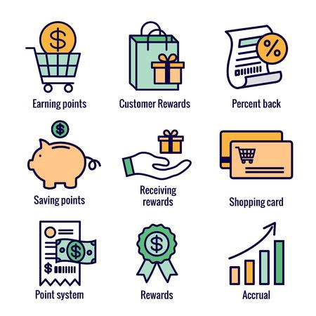 Kundenbelohnungen Icon Set mit Einkaufstasche und Rabattbildern